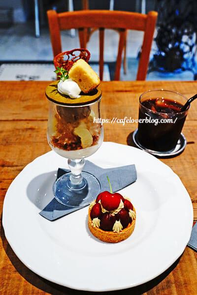 HORUTA◇季節のパフェ(レモン) / アメリカンチェリーとピスタチオのタルト / 水出しアイスコーヒー